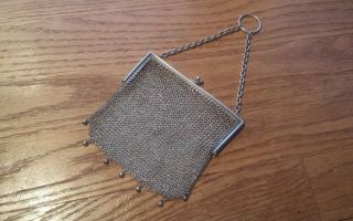 Vtg.  Antique English Sterling Silver Mesh Coin Purse 1903 photo