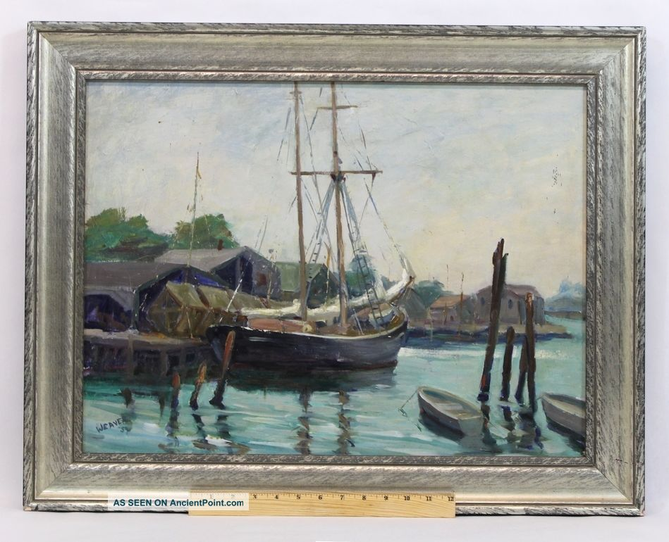 1959 V.  Weaver Rockport School Sailboat Dock Harbor Oil Painting Nr Other Maritime Antiques photo
