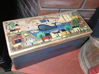 Ooak,  England Folk Art Nautical Village Scene On Hand Made Wooden Box photo