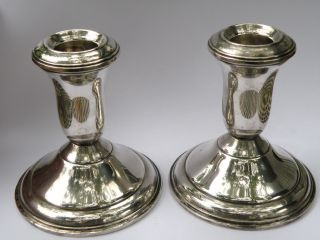 Vintage Amc Sterling Silver Weighted Candlestick Holders 3 1/2