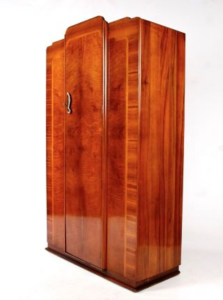 Art Deco Wardrobe Fine Quality Figured Walnut Vintage 1930s photo