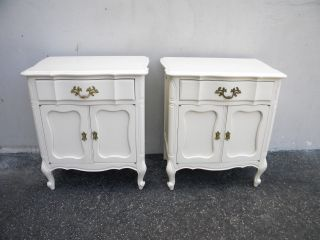 French Painted Serpentine Nightstands / End Tables 5069 photo