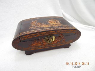 Hand Carved Wooden Jewelry - Trinket Box Vintage - 1964 Taipei,  Taiwan photo