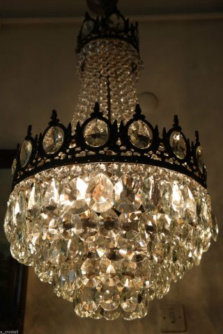 Antique Vintage Big French Basket Style Crystal Chandelier Lamp 1940s.  16in Dmtr photo