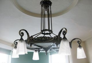 Stunning Antique Chandelier / Ceiling Lamp With Glass.  Art Nouveau Deco photo