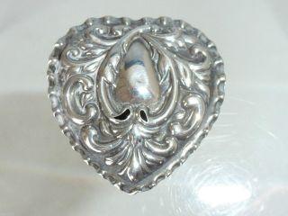 Antique English Solid Silver Snuff Pill Box Heart Birmingham 1900 photo