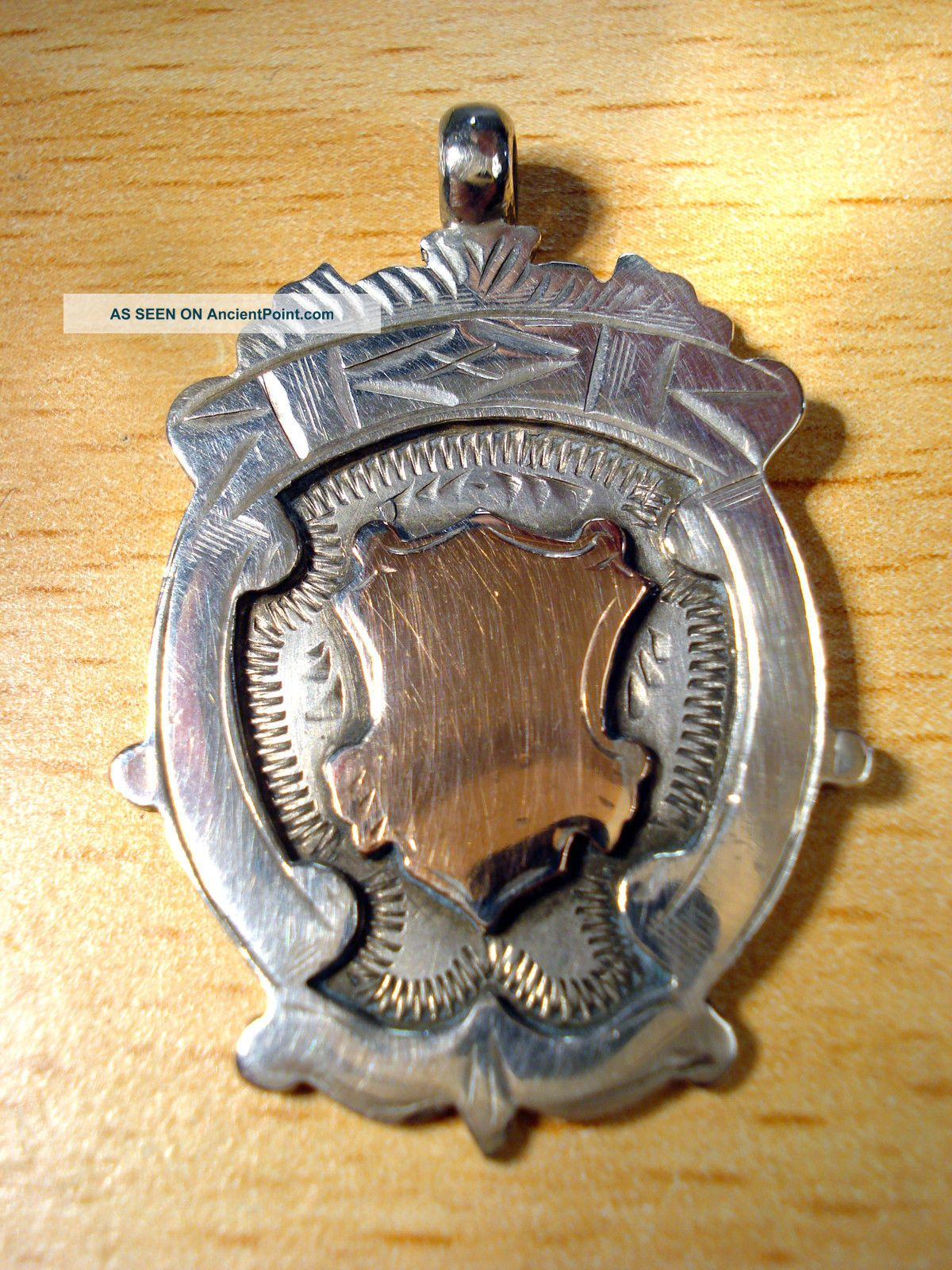 Pendant Rare Antique Vintage Solid Silver Medal 0.  925 Fob 1928 Pocket Watches/ Chains/ Fobs photo