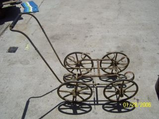 Antique Baby Buggy Frame With 11.  75 Wheels W/wooden Spokes Light Grey photo