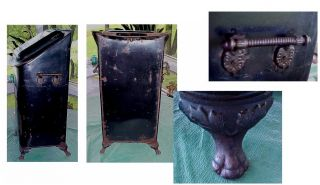 Antique Victorian 1800s Coal Scuttle Bin Tole Painting With Portrait Footed photo