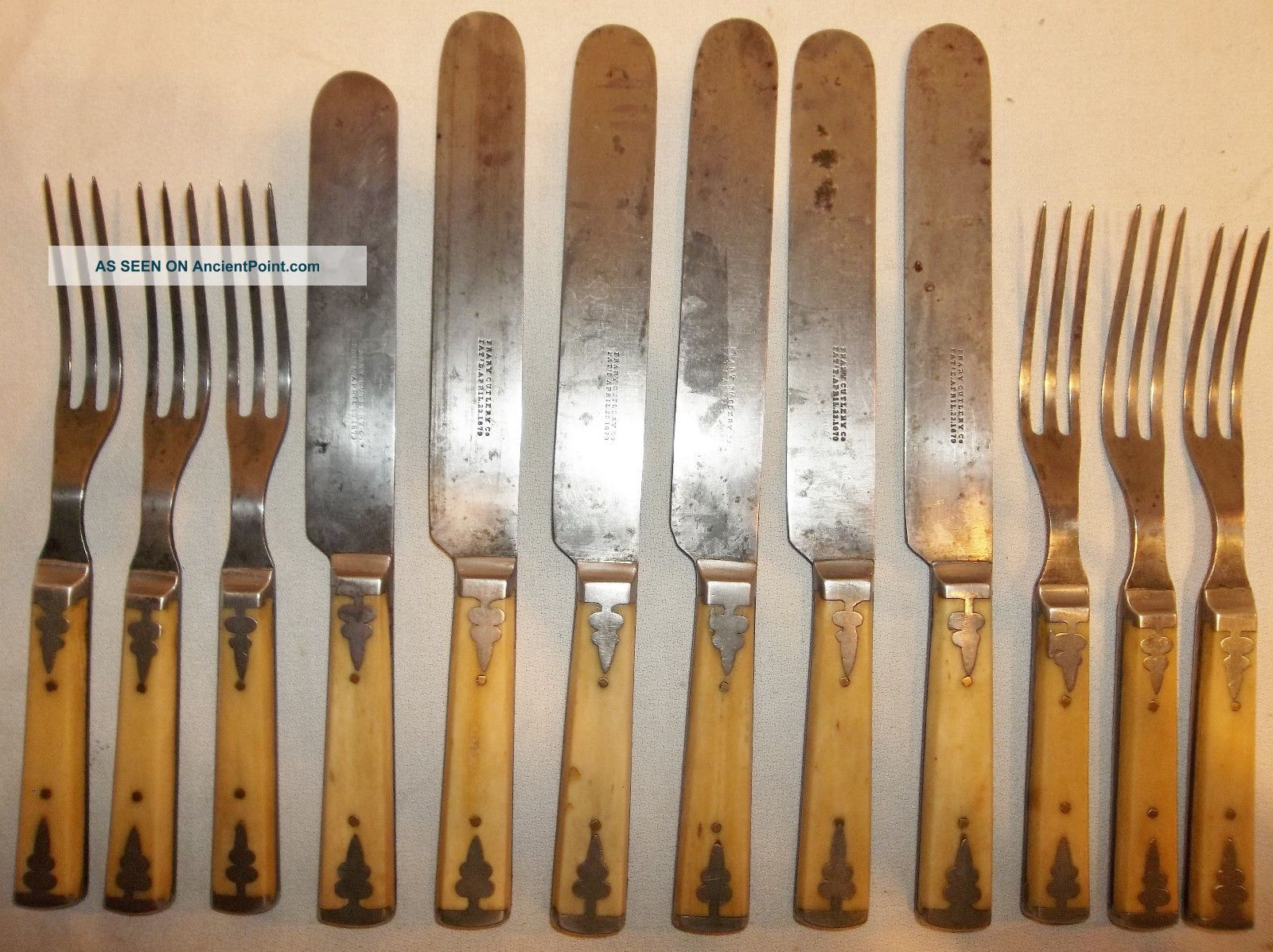 12 Antique Steer/bovine Bone Handled Flatware 6 Knives & 6 Forks Frary Cutlery Other Antique Home & Hearth photo