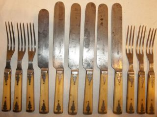 12 Antique Steer/bovine Bone Handled Flatware 6 Knives & 6 Forks Frary Cutlery photo