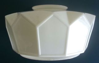 Vintage White Milk Glass Deco Skyscraper Light Fixture 15