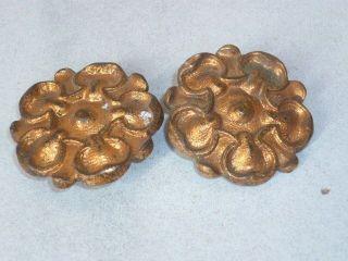 Pair Antique French Bronze Cartouche / Roses / Mounts : Floral Shape photo