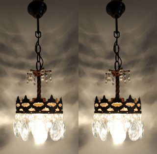 Vintage / Antique French Basket Style Brass & Crystals Chandelier Lamp photo