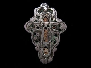 Outstanding Post Byzantine Pectoral Reliquary Silver Cross,  Reliquae Inside, photo
