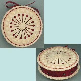 Antique Carved Bone Pin Cushion / Disc English Circa 1850 photo