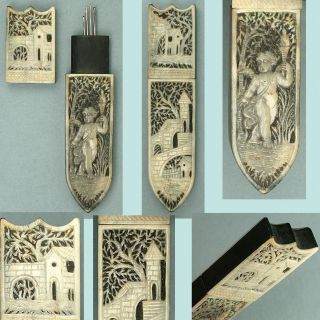 Fabulous Antique Carved Bone & Ebony Needle Case W/ Cherub & Castles Circa 1800 photo