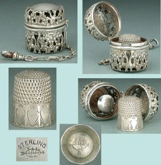 Antique Sterling Silver Chatelaine Thimble Case & Thimble By Webster Co.  C1890 photo