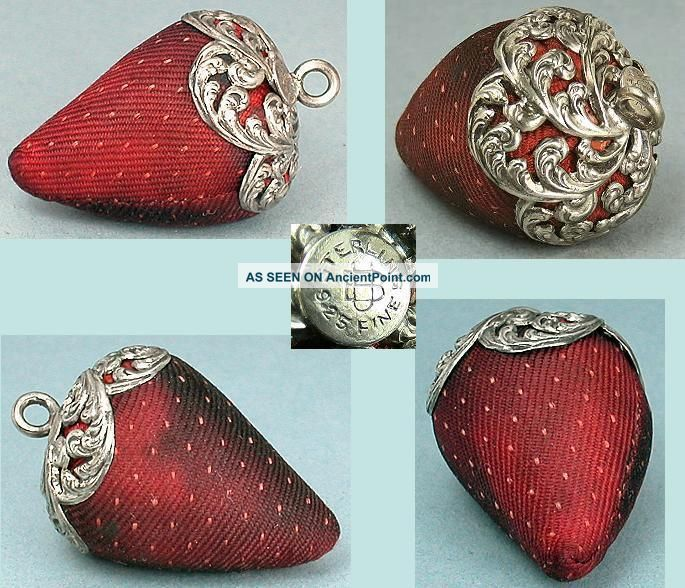 Antique Sterling Silver Topped Strawberry Emery By Unger Brothers Circa 1890 Other Antique Sewing photo