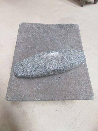 Antique Metate 2 - Grinder - Rustic - Complete - Old Mexican - Metates - Primitive - 15x12x10 photo