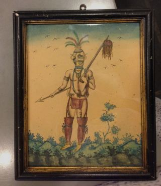 Antique Native American Indian Folk Art Painting Water Color Hunter 11 X 9 photo