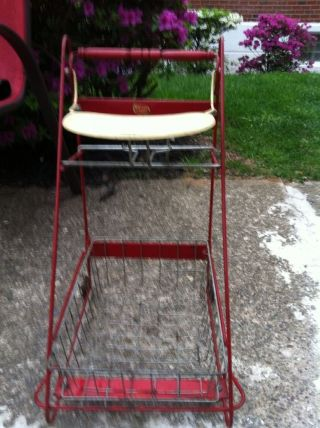 Amsco Metal Red Baby High Chair Shopping Cart Thing Antique Vintage photo