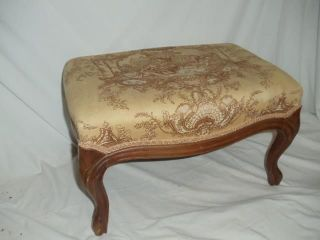 Antique Victorian Upholstered Tapestry Footstool Hassock Ottoman Bench Seat photo