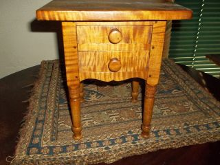 Tiger Maple Miniature Sheraton Style Two Drawer Stand photo