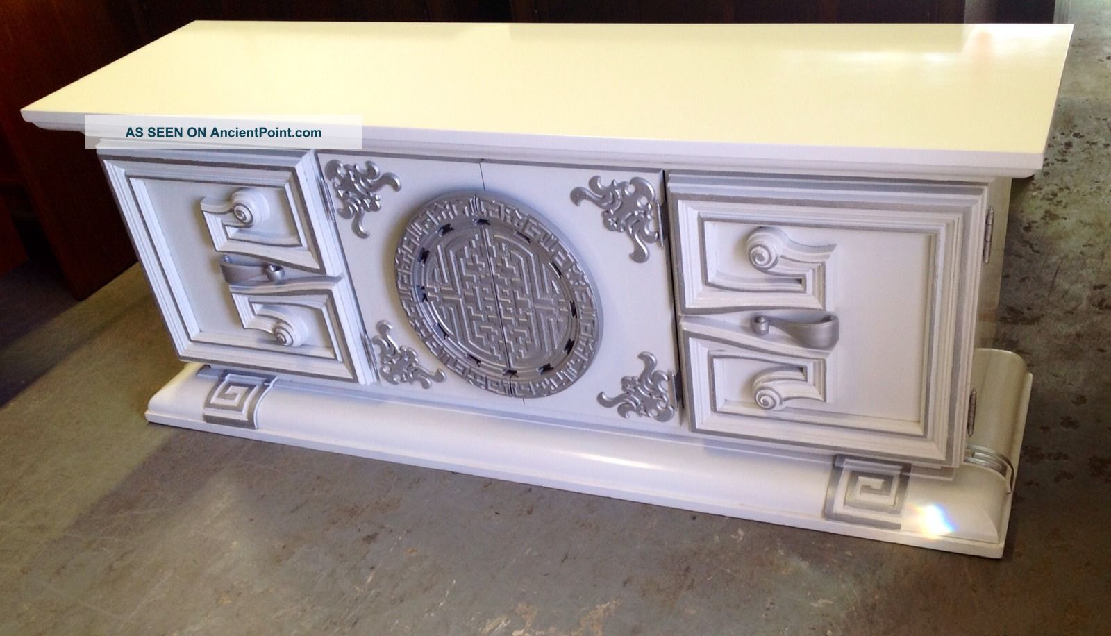 Glam Mid Century Hollywood Regency Credenza With Aztec And Greek Key Design Post-1950 photo