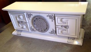 Glam Mid Century Hollywood Regency Credenza With Aztec And Greek Key Design photo