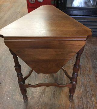 Rare Kittinger Triangle Drop Leaf Table Solid Walnut photo