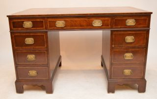 Mahogany Baker Pedestal Writing Desk 1900 - 1950 Georgian Style Wood Leather Top photo