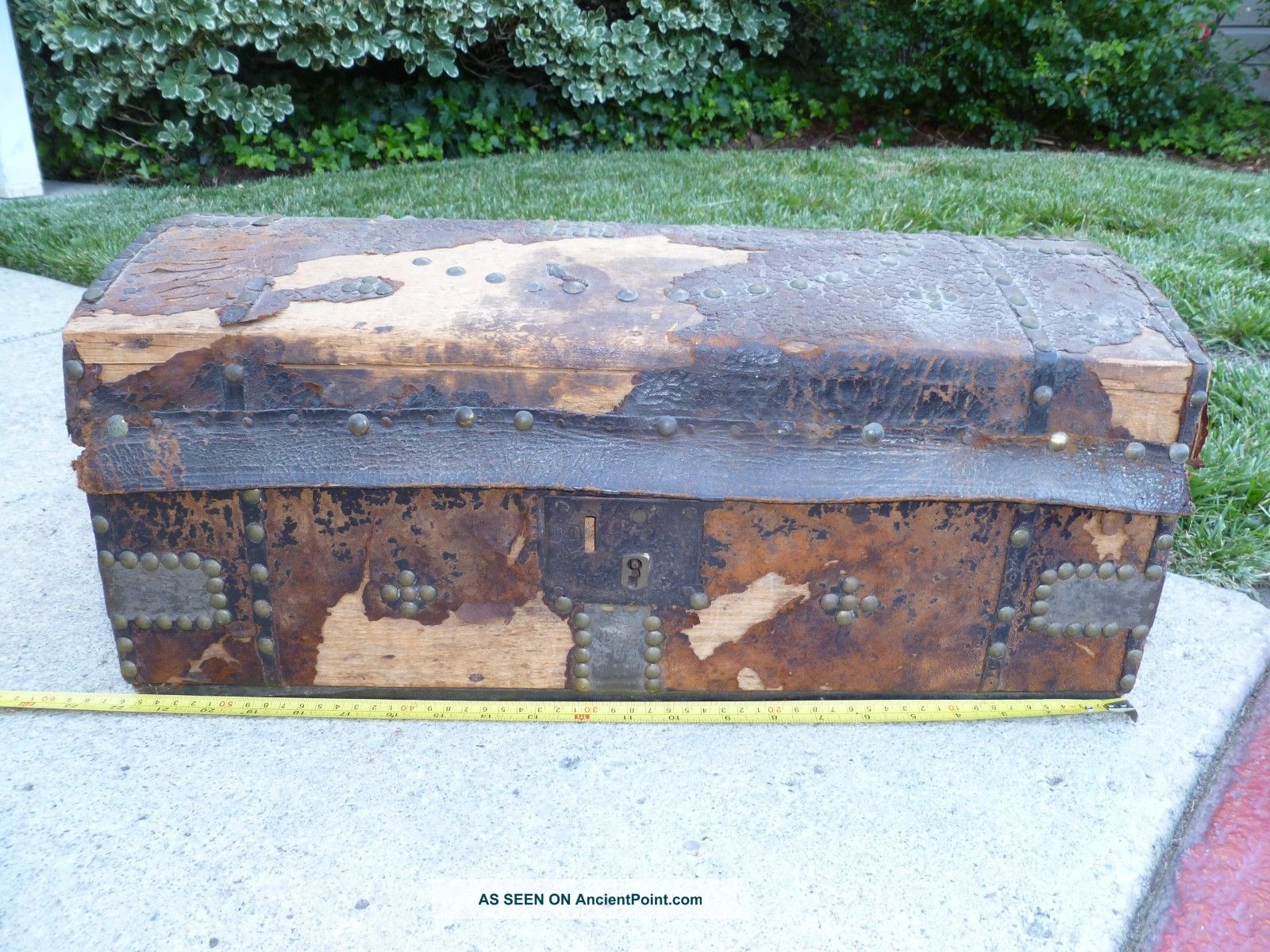 1839 Antique Trunk All Leather & Hide Covered 1800-1899 photo