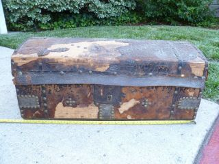1839 Antique Trunk All Leather & Hide Covered photo