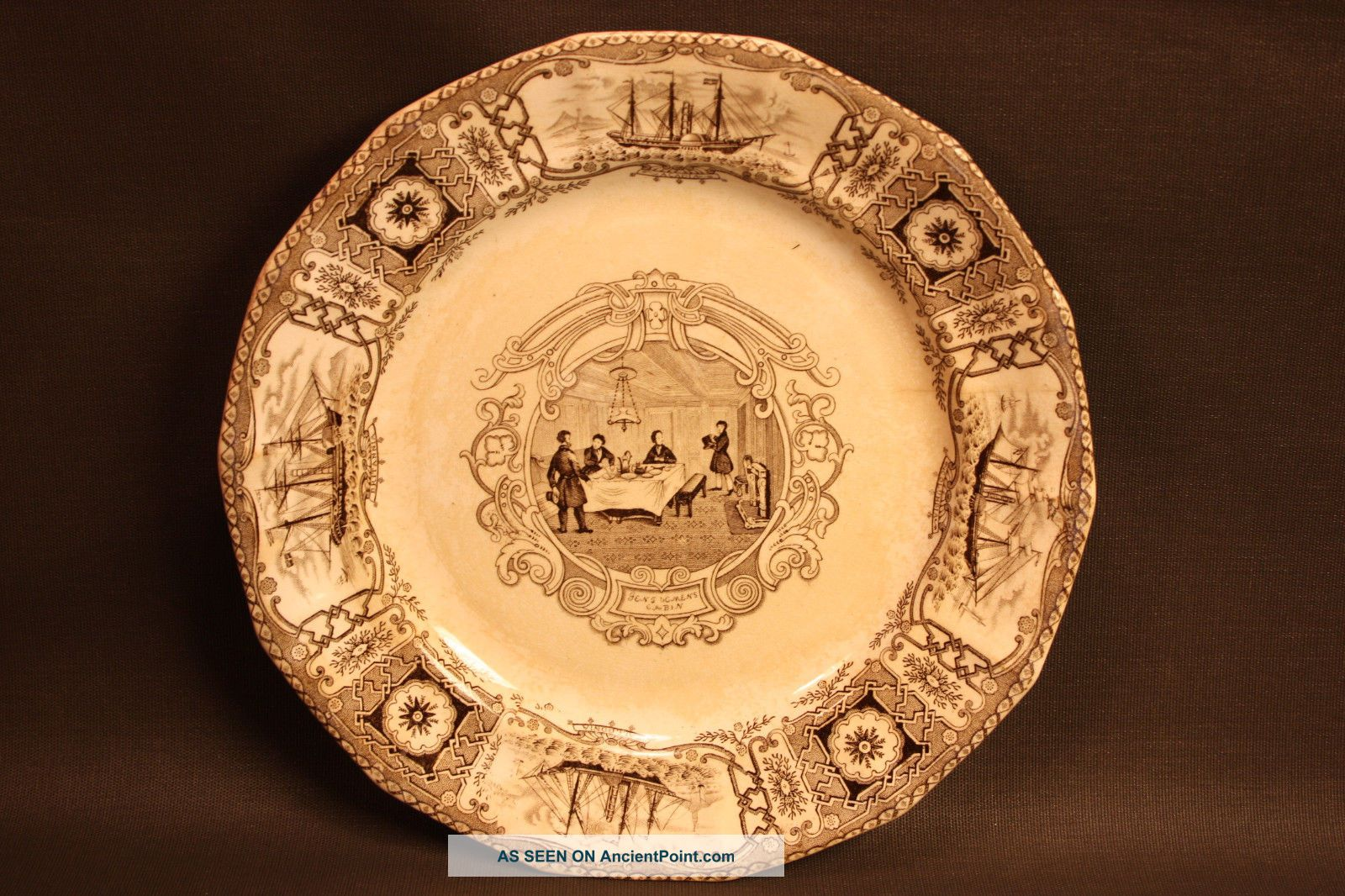 Antique Boston Mails Pattern C1840 Brown Transferware Dinner Plate J & T Edwards Other Maritime Antiques photo