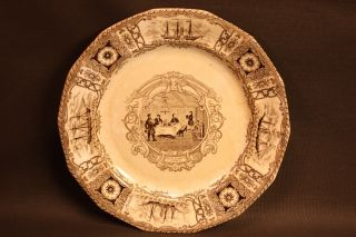 Antique Boston Mails Pattern C1840 Brown Transferware Dinner Plate J & T Edwards photo