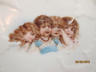 Antique Porcelain Ceramic Round Trivet Hot Plate 4 Little Victorian Girls Exac photo