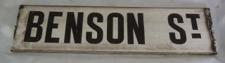 Unique Antique Porcelain Road Street Sign Benson Street Ideal Name Plate Fun photo