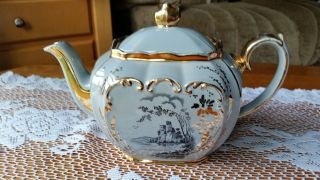 Very Rare & Sadler 24kt Gold Gilded Pale Blue/grey English Teapot 1928 photo