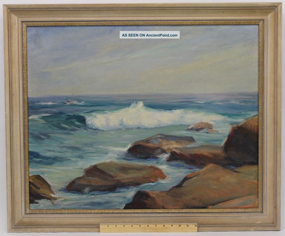 Large Vintage Mid - 20thc American Impressionist Seascape Oil Painting Nr Other Maritime Antiques photo