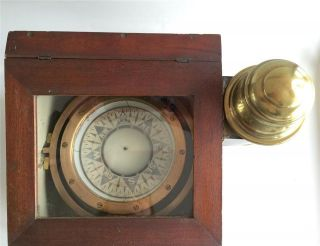 Antique 1900s E S Ritchie Boston Binnacle Wet Compass W Lantern Wood Box photo