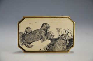 Bts Scrimshaw Walrus Belt Buckle - Solid Brass Made In Usa photo