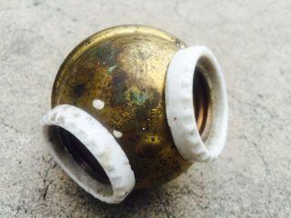 Vintage Industrial Light Double Socket Cluster Porcelain Brass Benjamin photo