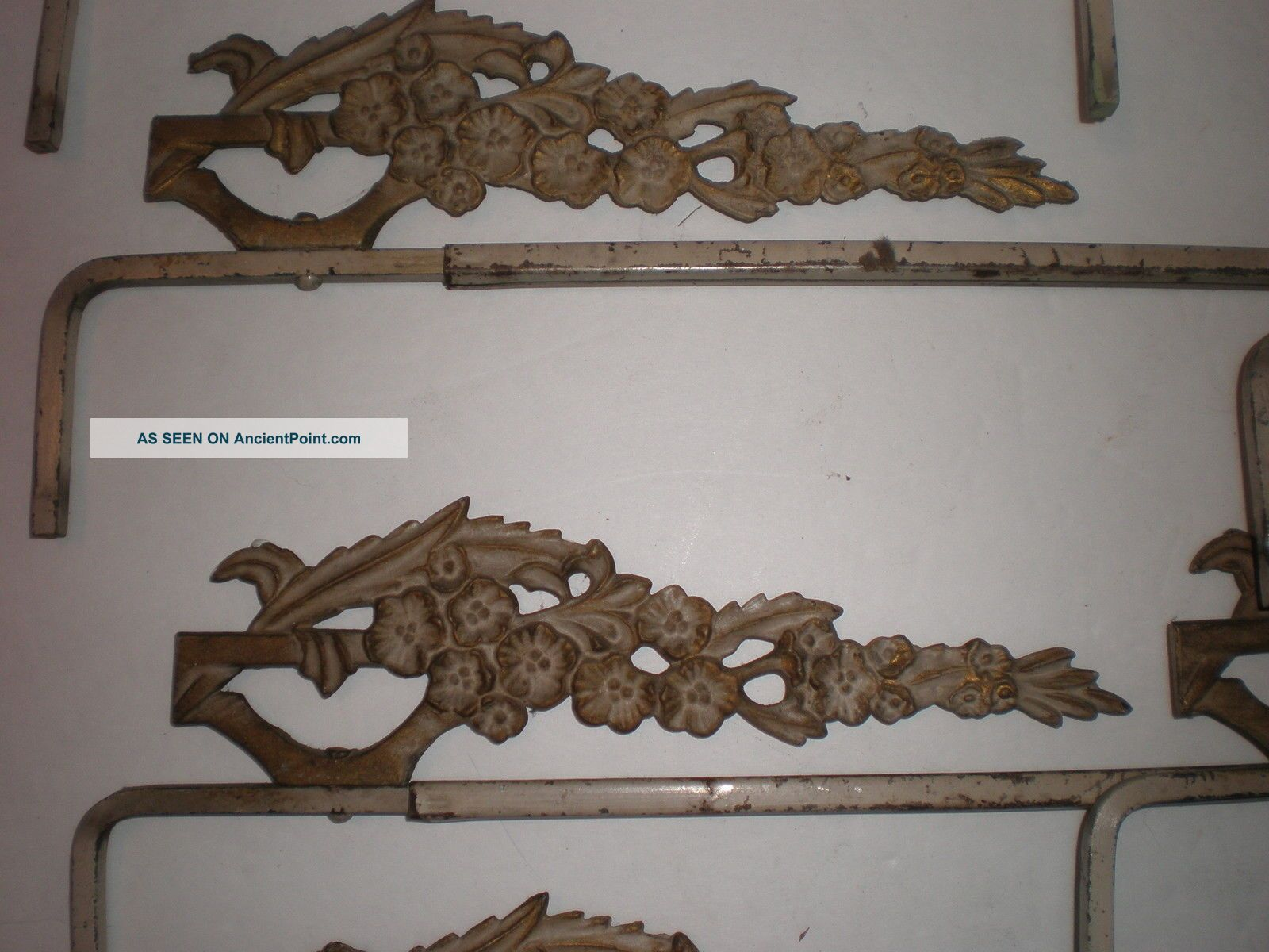 Antique Swing Arm Curtain Rods Cast Iron Ornate Flower Decorative ...