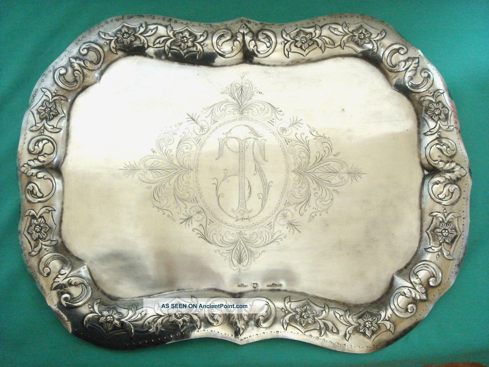 Antique Silver Mexico 18th Century Spanish Colonial Tray 880 Gr Other Antique Non-U.S. Silver photo
