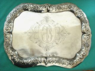 Antique Silver Mexico 18th Century Spanish Colonial Tray 880 Gr photo
