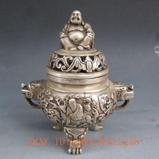 Silver Bronze Carved Man & Deer Incense Burner & Buddha Lid W Qing Dynasty Mark photo