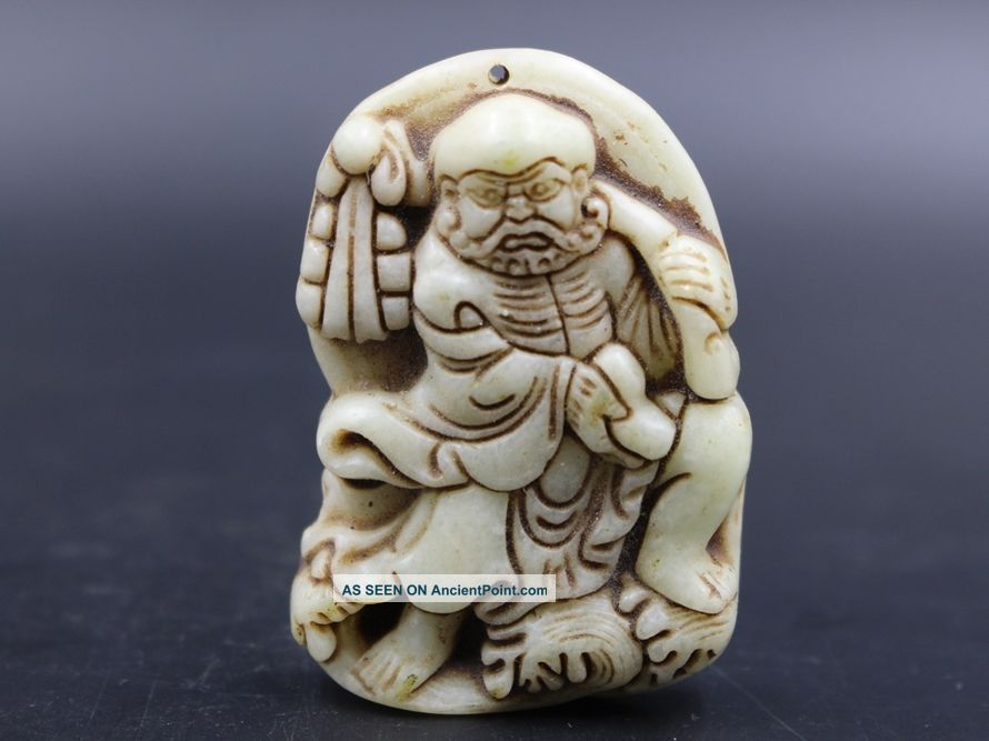 Ingenious Chinese Fine Xiu Jade Hand Carved Statues Shaolin Damour Buddha photo