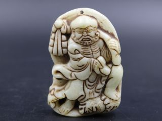 Ingenious Chinese Fine Xiu Jade Hand Carved Statues Shaolin Damour photo
