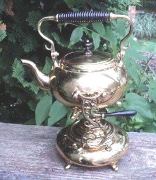 Antique Brass S.  Sternau & Co Teapot 1800 ' S Tea Pot Ornate Stand Spirit Kettle photo